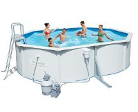Стальной овальный бассейн Hydrium Oval Pool Set 500х360х120см,16296л,фил-насос 3785л/ч, лестн, подст